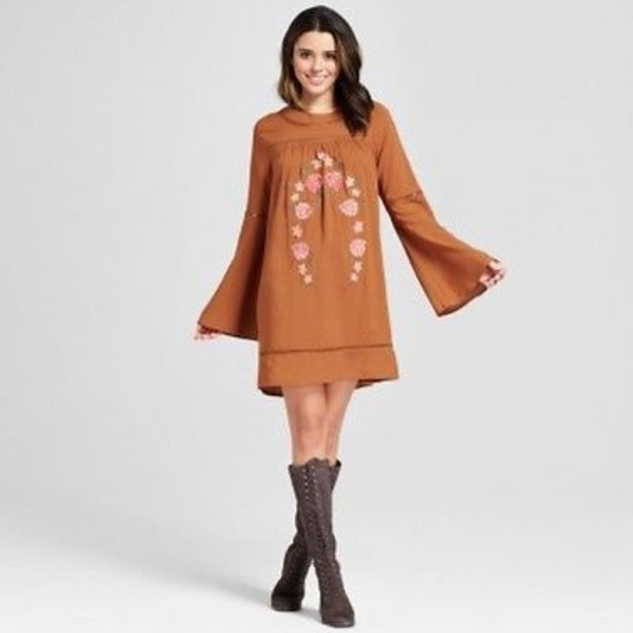 9a4be77649f3e Rust Embroidered Long Bell Sleeve Shift Dress. NWT. Xhilaration